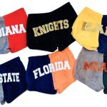 Girls pajama shorts with glitter college applique Image