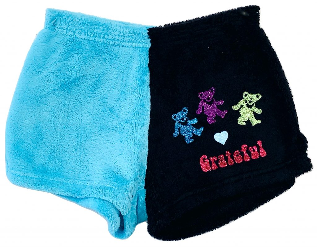 """Two Toned Black & Turquoise """"Grateful Dead"""" rock group pajama shorts"""