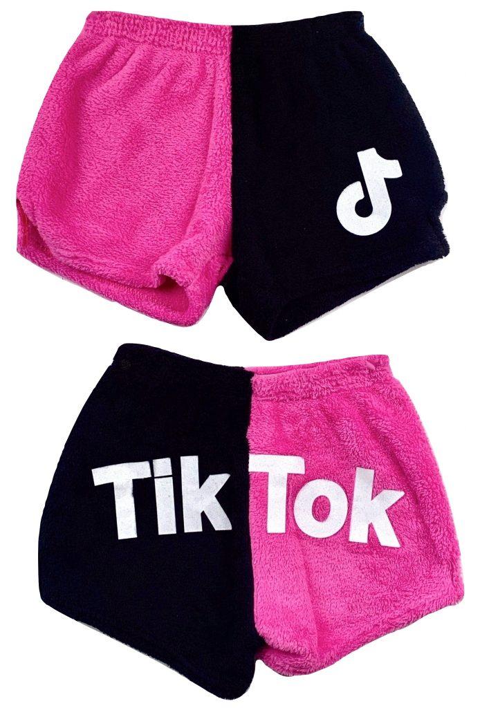 """Two Toned Black & Neon Fuchsia """"Tik Tok"""" pajama shorts (Front & Back)"""