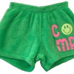 """Neon Green """"Camp with Smiley Face"""" Pajama Shorts Image"""