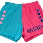 "Two Toned Turquoise / Neon Pink ""Camp with Stars"" Pajama Shorts Image"